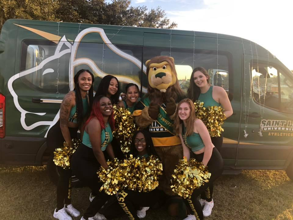 Saint Leo's dance team and Fritz are ready for the Ocala parade