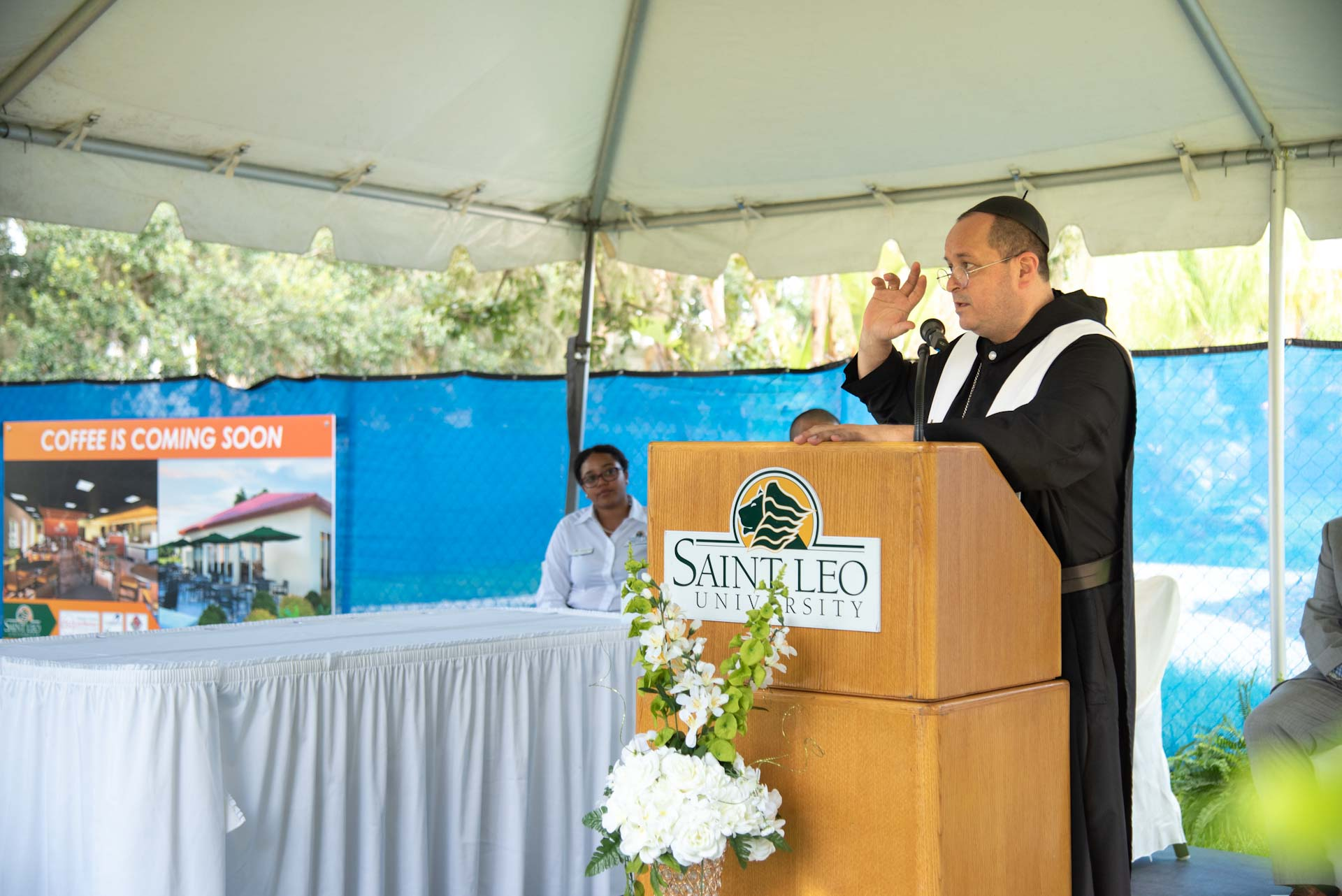 Abbot Isaac Camacho, OSB, blessing the construction of Saint Leo University's coffeehouse_edited