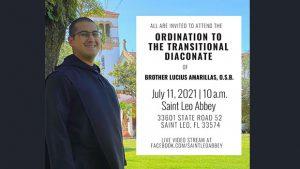 Brother Lucius Amarillas '18 ordained as deacon @ Saint Leo Abbey Church and Livestream